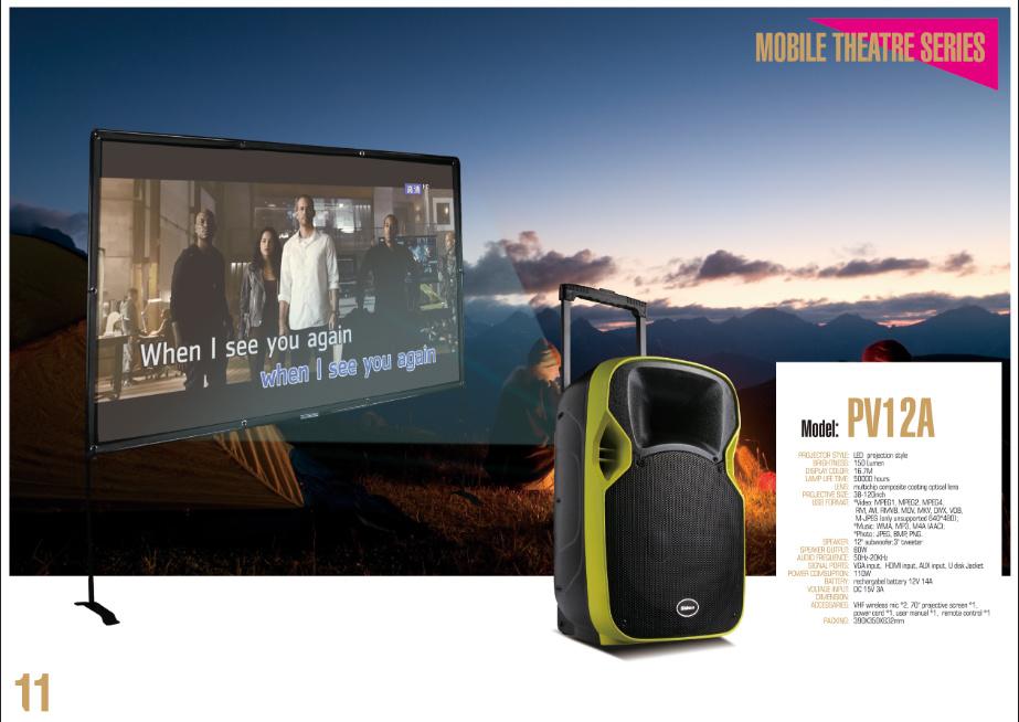 5 Patent Private Mobile Theatre Series Projector Portable Speaker