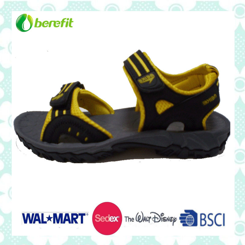 Yellow and Black up Upper, TPR Sole, Men′s Sporty Sandals