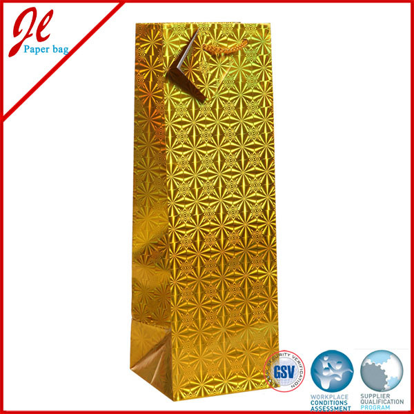 Luxurious Gold Reinforced Gift Wine Bottle Paper Bags with Handle and Tag