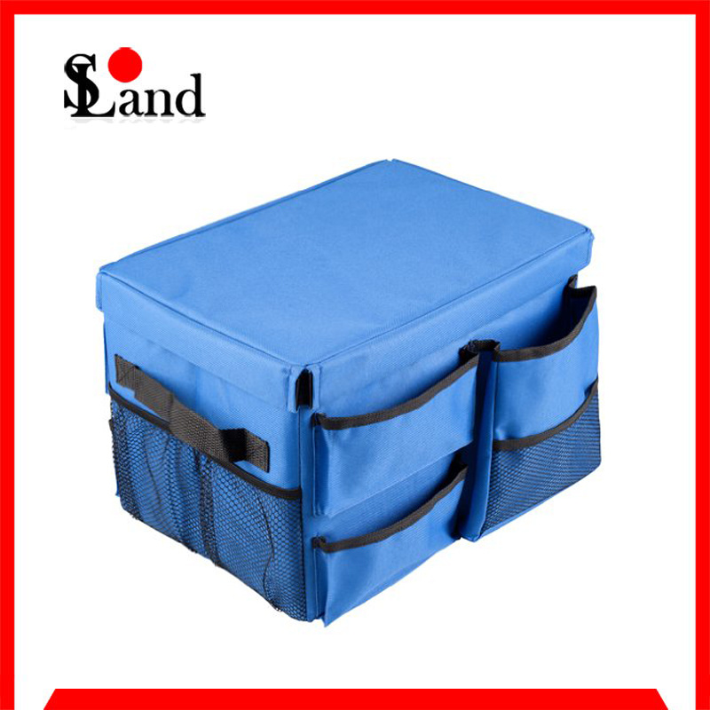 Blue Color Collapsible Folding Car Organizer Bag with Oxford Fabric