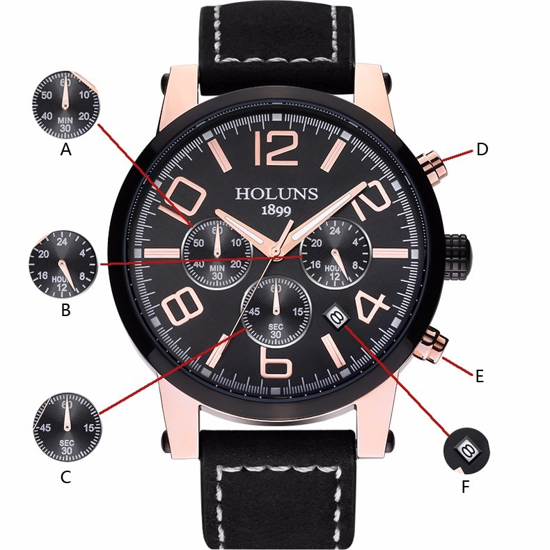 Large Dial Leather Strap Quartz Men Watches Fashion Vintage Watch Waterproof Multifunction Man Watches