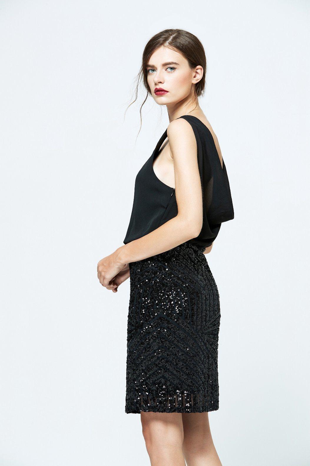 Best Price Latest Products Sequin Sleeveless Sexy Black Chiffon Dress