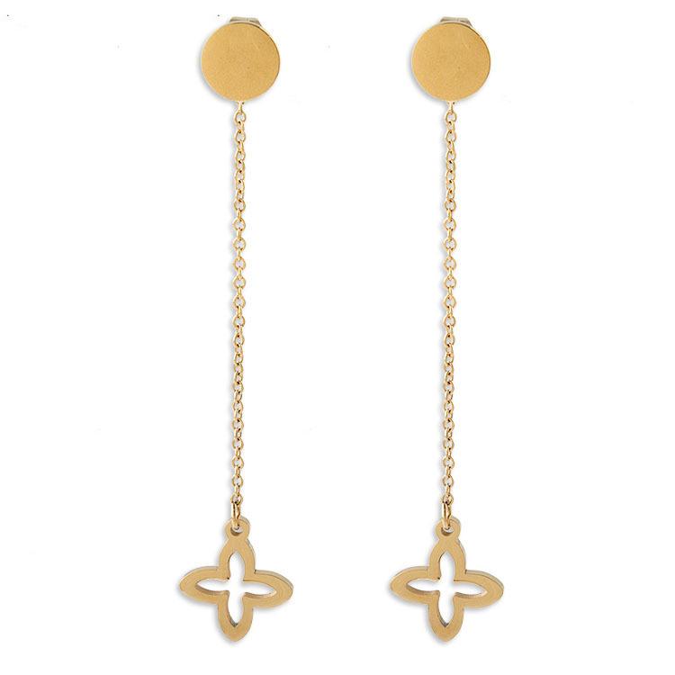 New Fashion Jewelry Women Personalized Flower Long Drop Earrings