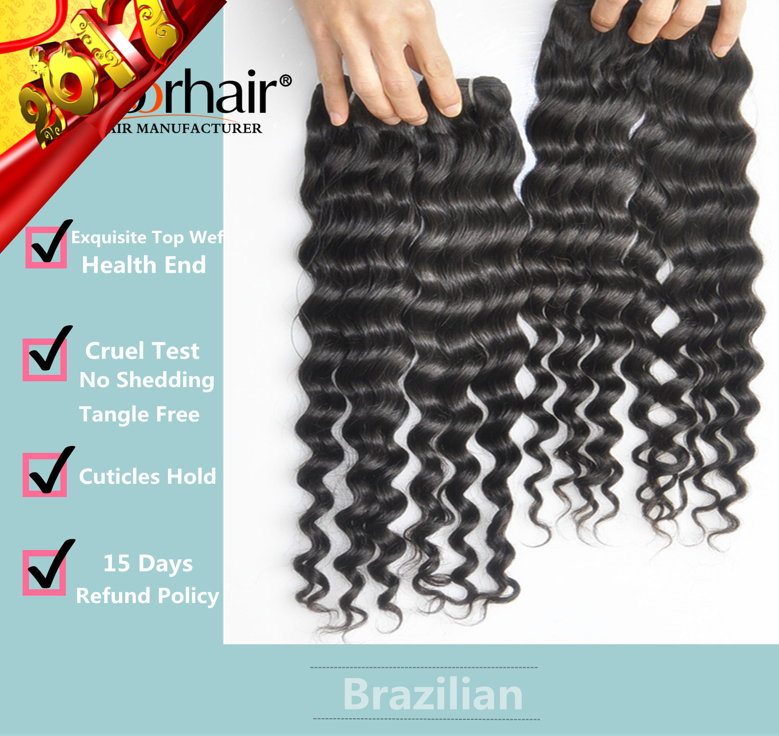 Unprocessed Labor Hair Extension 105g (+/-2g) /Bundle Natural Brazilian Virgin Hair Deep Wave 100% Human Hair Weaves Grade 9A