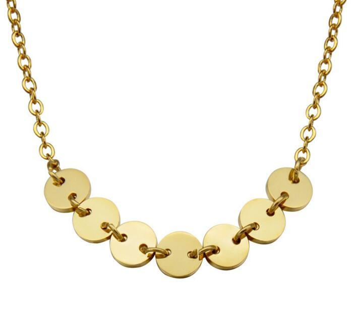 Wholesale Europe Shinny Gold Round Stainless Steel Pendant Necklace Jewelry