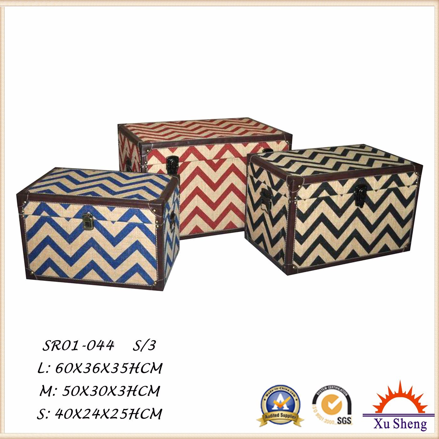 Wooden Chevron Fabric Print Tufted Storage Trunk Chest, Storage Box for Living Room