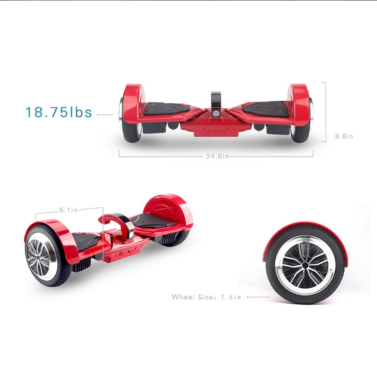 Koowheel Patent Hoverboard 7.5 Inch Wheels K5 with Dual Bluetooth and Smart LED Lights