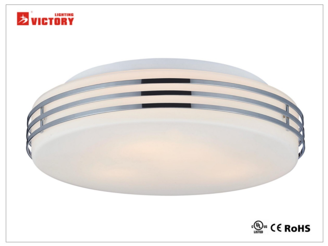 Victory Simple 8W LED Opal Glass and Gold Metal Ceiling Lamp