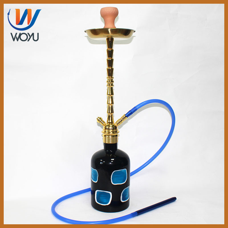 Ling Angle Hookah Glass Thread Mouth Design and High Quality Artificial Cutter Pattern Hookah Bottle