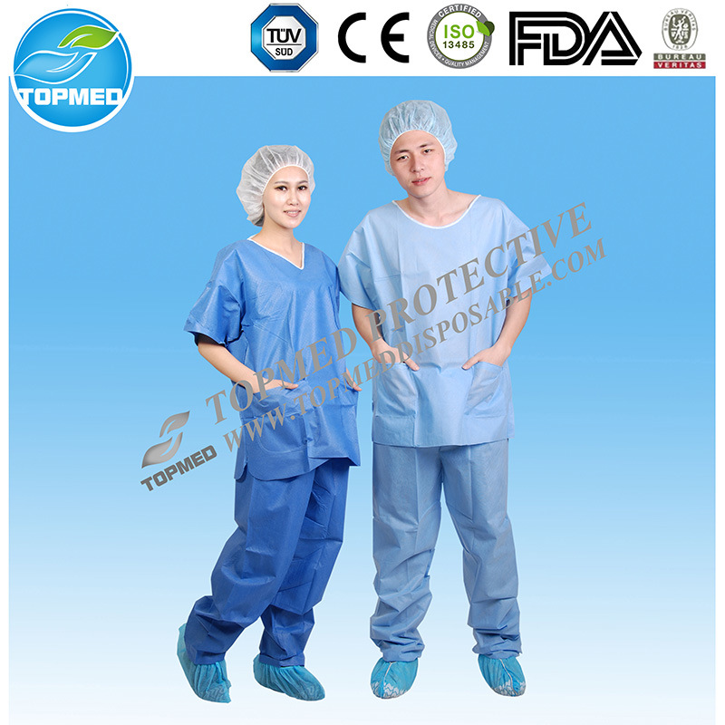Disposable Nonwoven PP/SMS Design Nurse Uniform /Medical Scrub