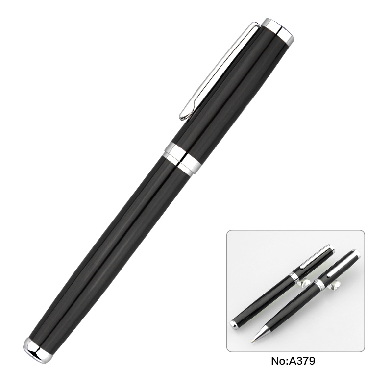 Black Color Fashion Metal Ball Pen Roller Pen Set for Business