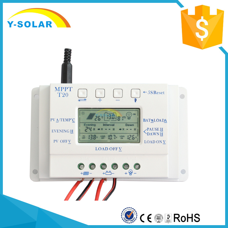 12V/24V 20A Solar Charger Discharger Controller for Solar System with Ce T20