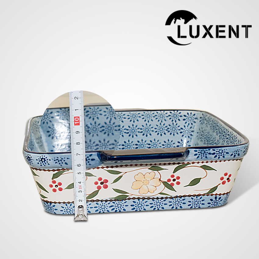 Wholesale Porcelain Colorful Square Tapas Baking Tray with Ears