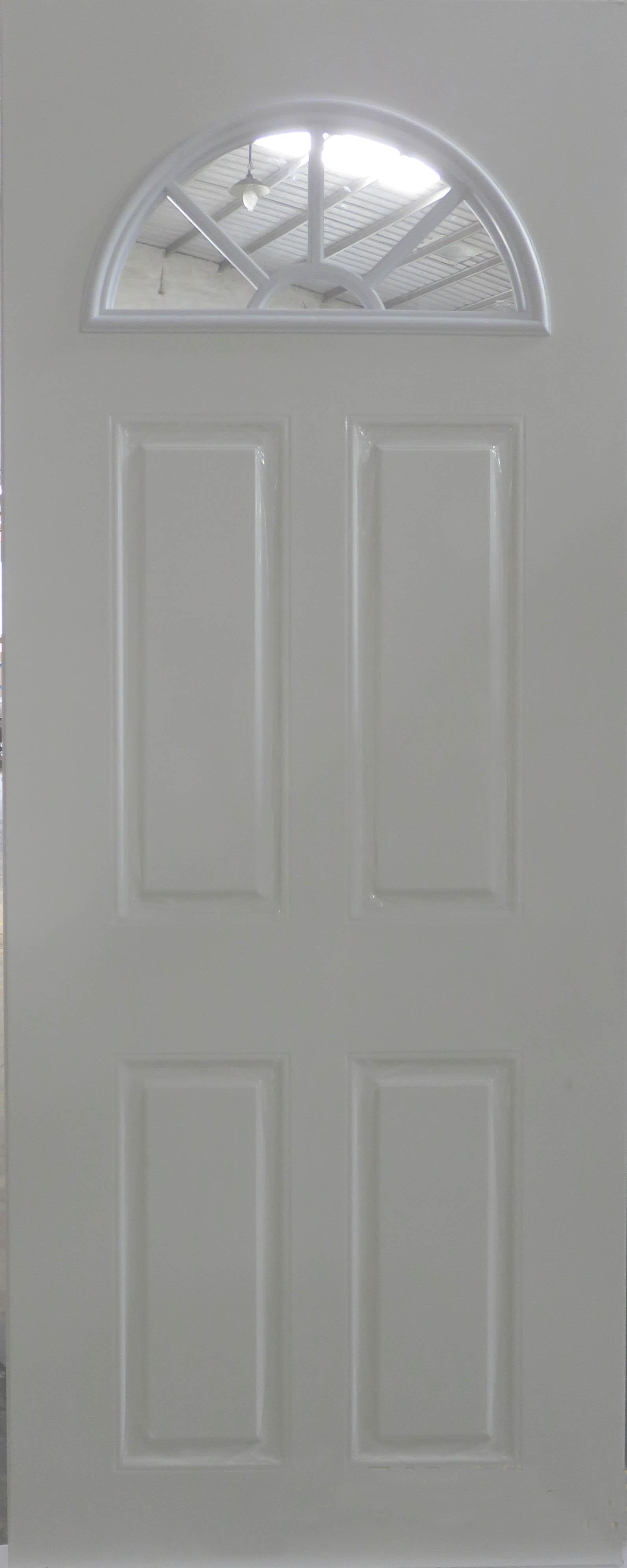 Steel Entry Door with Sunburst Glass