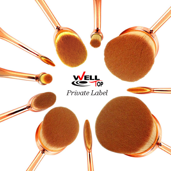 10PCS Rose Gold Toothbrush Oval Shape Makeup Brushes