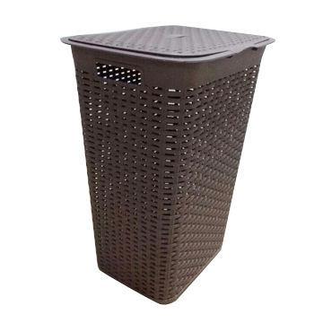 Plastic Rattan Laundry Box with Lid