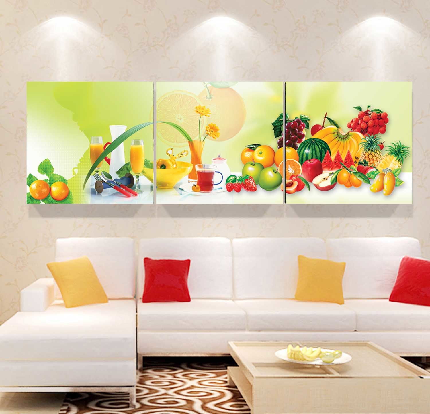 3 Panel Wall Art Oil Painting Fruit Painting Home Decoration Canvas Prints Pictures for Living Room Mc-254