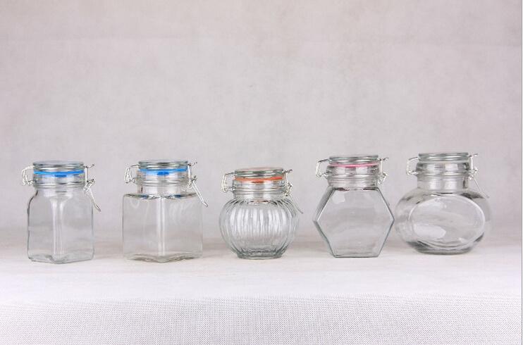 Airtight Glass Storage Jar/Candy Jar/Mason Jar/Spice Bottle/Candle Jar with Clip/Clamp/Locking Lid