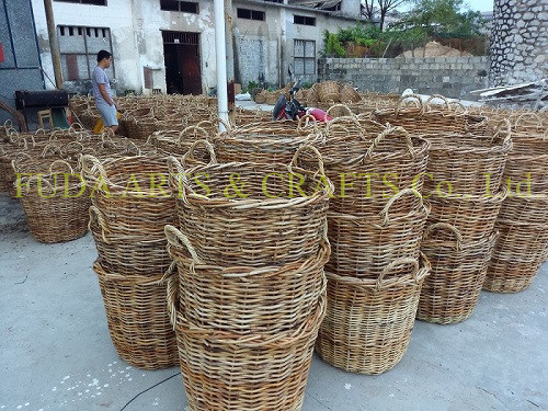 Salim Rattan Square Flower Basket with Handle