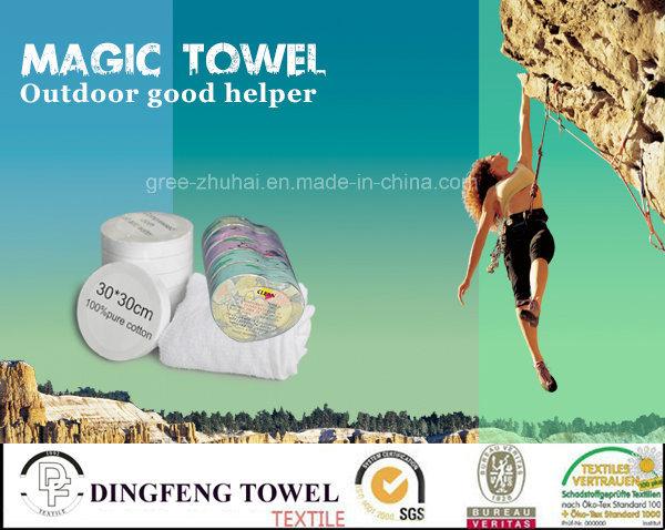 Brand Promotion Product: 100% Cotton Compressed Promotional Towel/Tablet/T-Shirt/Sock/Backpack Towel Bag/