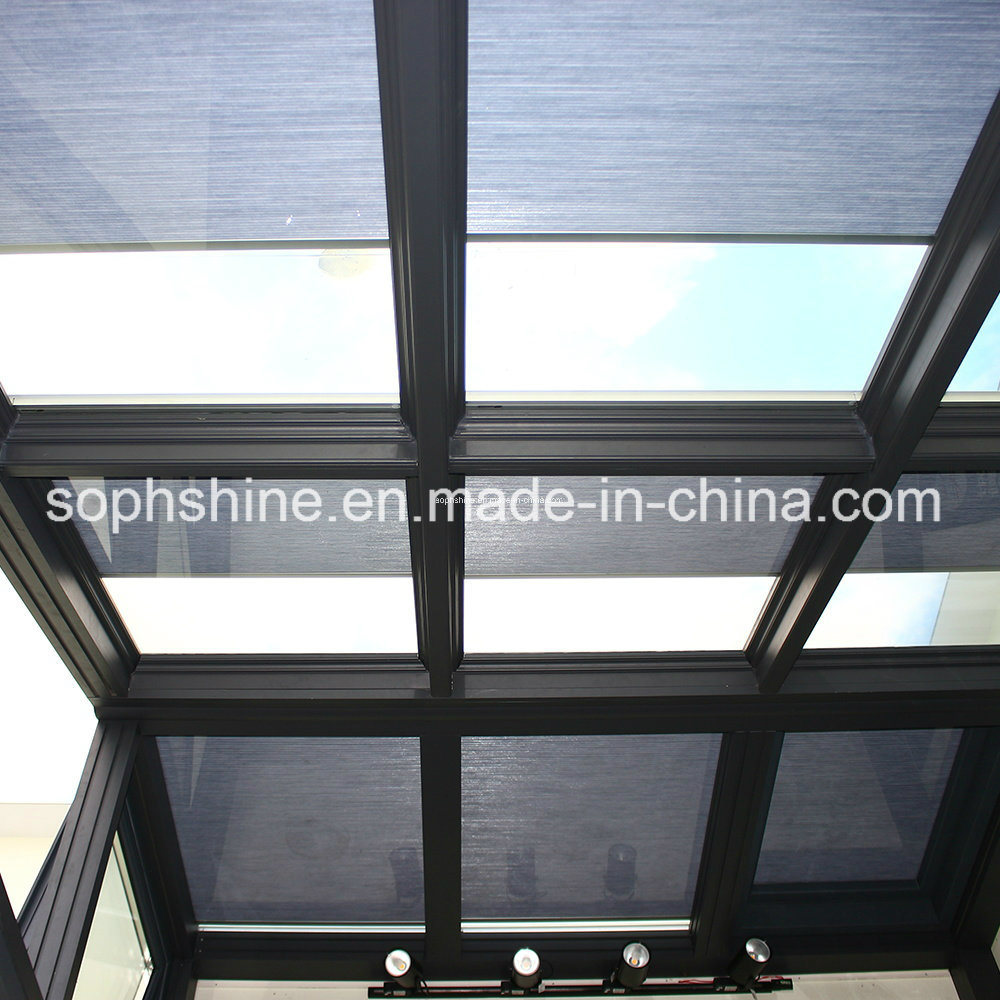 Electronic Control Cellular Shades Inserted Into Insulated Tempered Glass for Shading or Partition