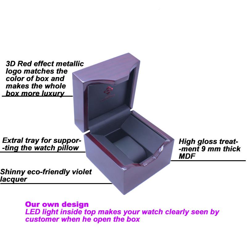 Elegant Wooden LED Single Watch Packaging Box