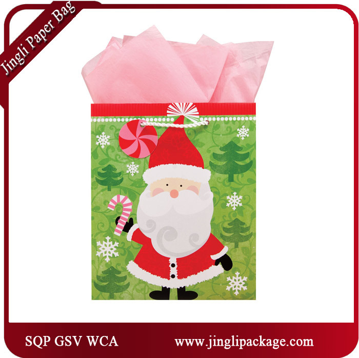Gift Christmas Bag Santa Clause Gift Paper Bags with Full Glitter