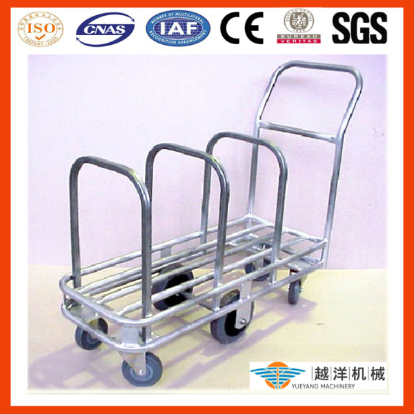 Galvanized Tublar Hand Pull Trolley for Cardboard Storage