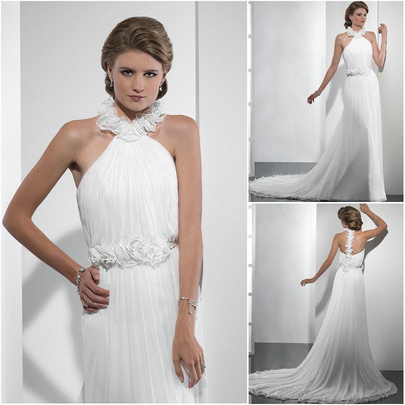 China V Neck Halter Sheath Ocean Wedding Dress 2012