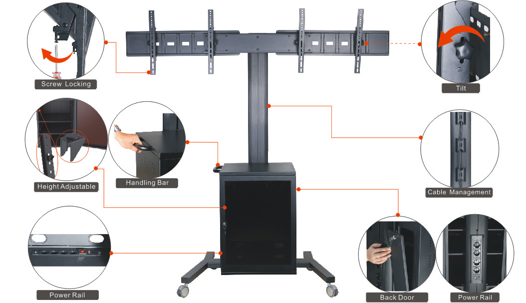 "Video Conference Stand Dual Screen 30-60"" Lockable Cabinet (VRS 2000)"