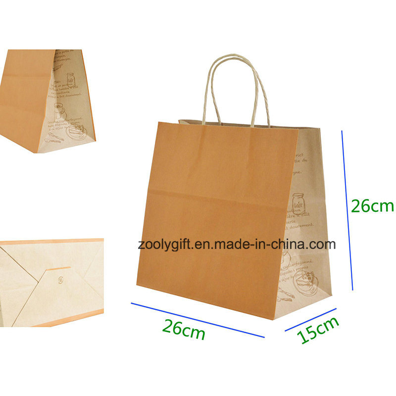 Eco-Friendly Kraft Paper Gift Bag with Twisted Handle Cake Packing Carrier Bag