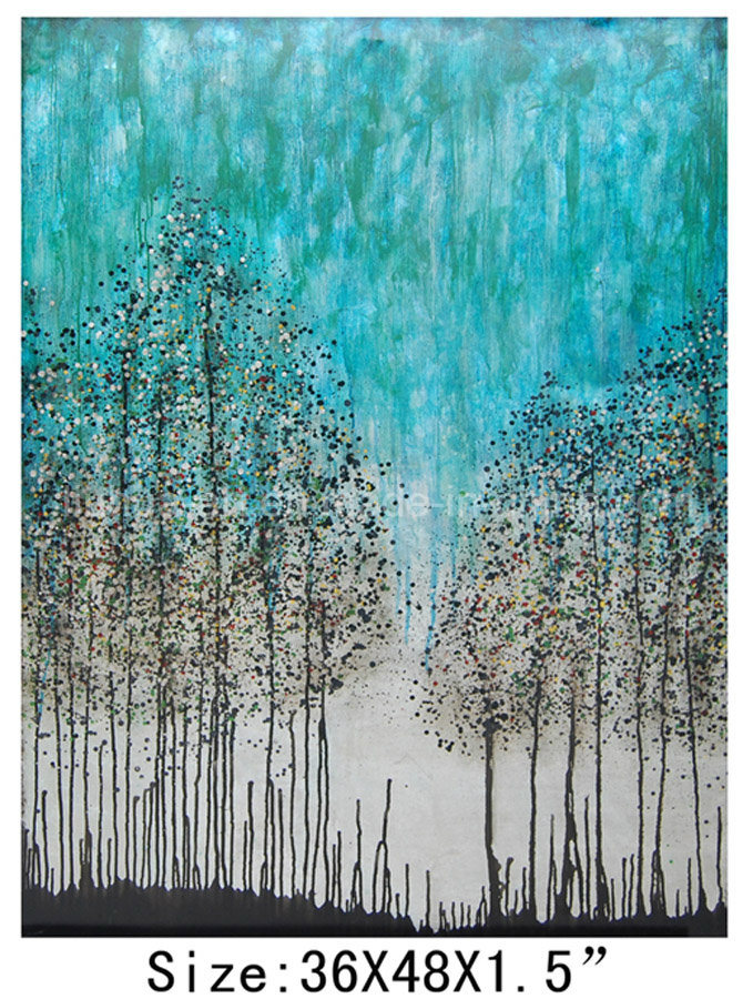 100% Handmade Modern Trees Oil Painting on Canvas for Home Decoration (LH-700500)