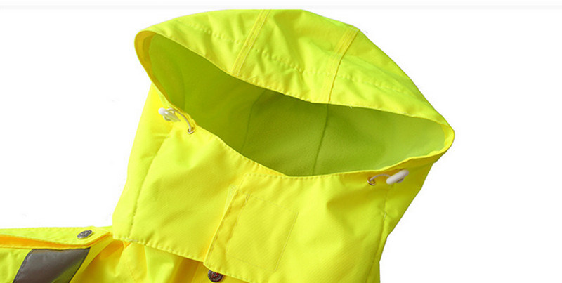 Fluorescent Yellow Fleece Windproof Warm Thick Reflective Traffic Patrol Duty Rain Coat
