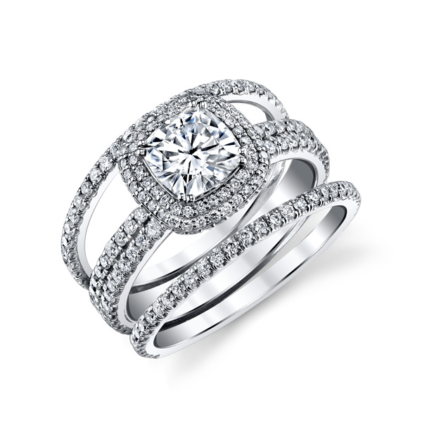 Cushion Cubic Zirconia Rings Set in 925 Sterling Silver Jewelry