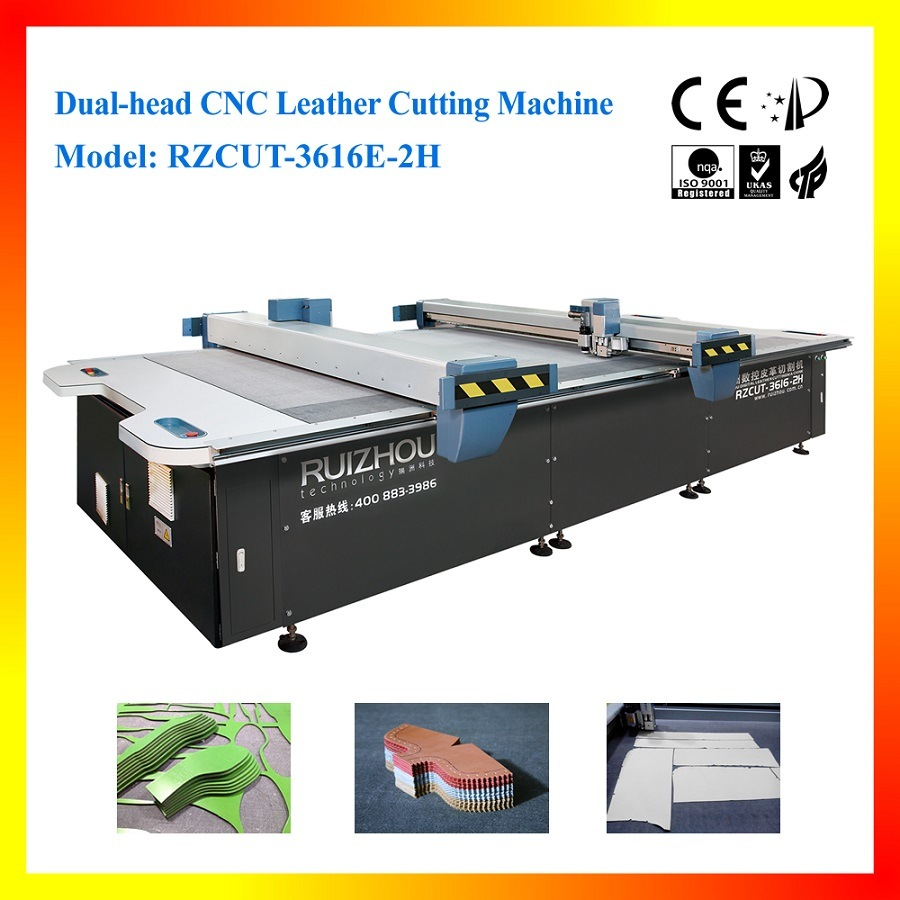 Automatic CNC Leather Cutting Machine with Two Heads and Conveyor Belt