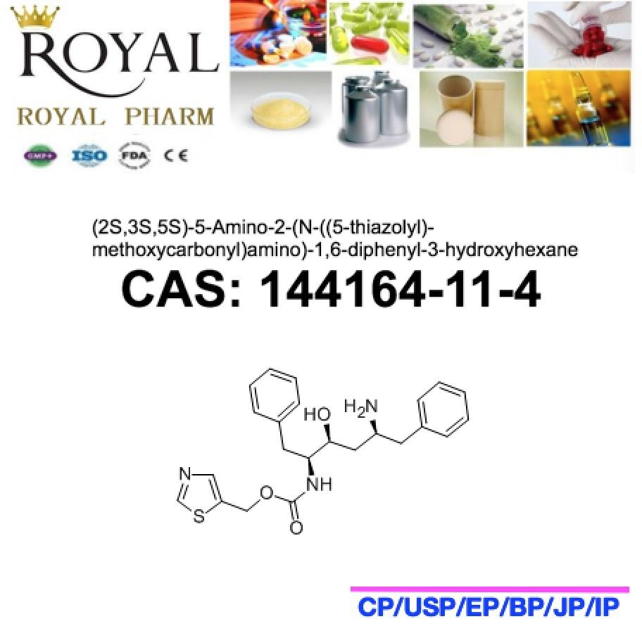 (2S, 3S, 5S) -5-Amino-2- (N-((5-thiazolyl)-methoxycarbonyl)amino) -1, 6-Diphenyl-3-Hydroxyhexane CAS: 144164-11-4, 99.0% Min. Intermediate of Ritonavir