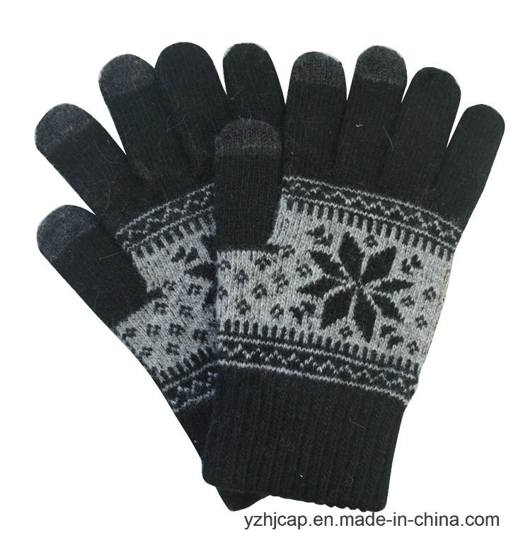 Colorful Touch Screen Jacquard Knitted Acrylic Touch Gloves