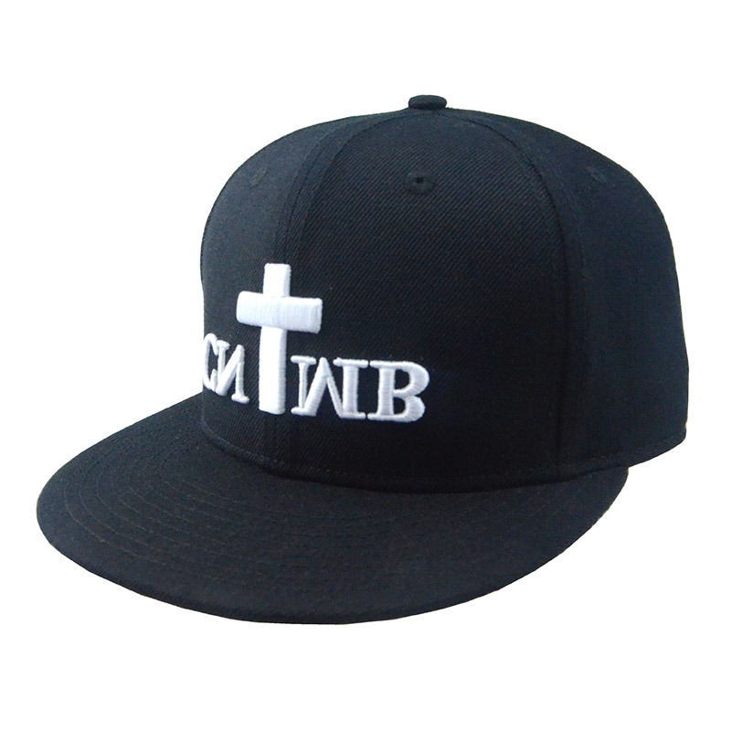Custom Black 6 Panels Cotton Cap Snapback Man Hat