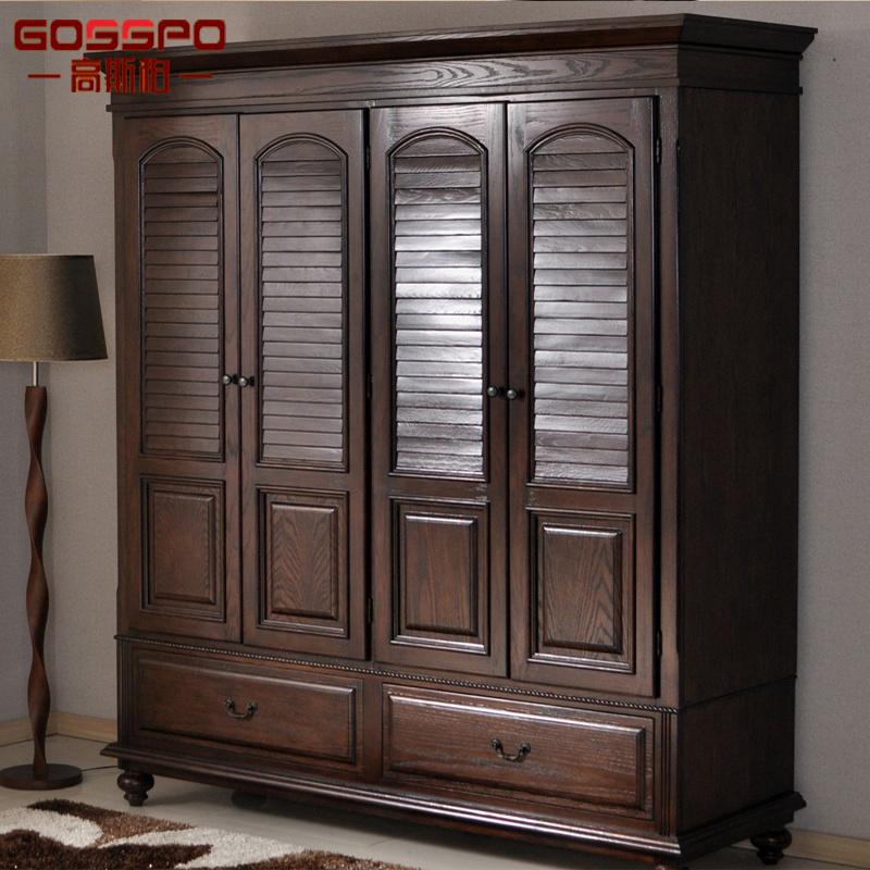 Bedroom Furniture Wood Wardrobe with Louvered Door (GSP17-009)