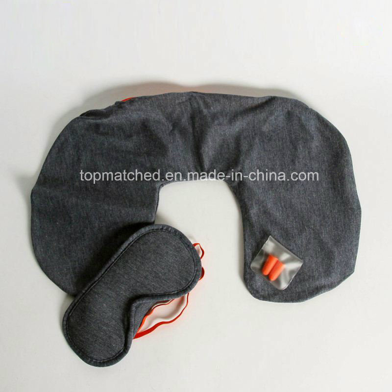 Comfortable Plush Travel Kit Eye Mask Neck Travel Pillow, Neck Inflatable Pillow Travel