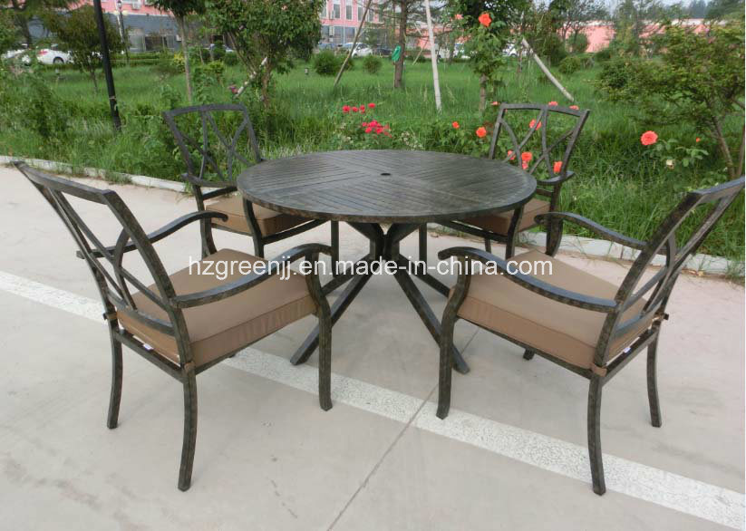 Aluminium Power Coating 5 Pieces Round Table Garden Set Furniture