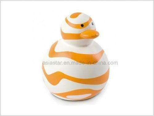 White Vinyl Duck with Orange Stripe