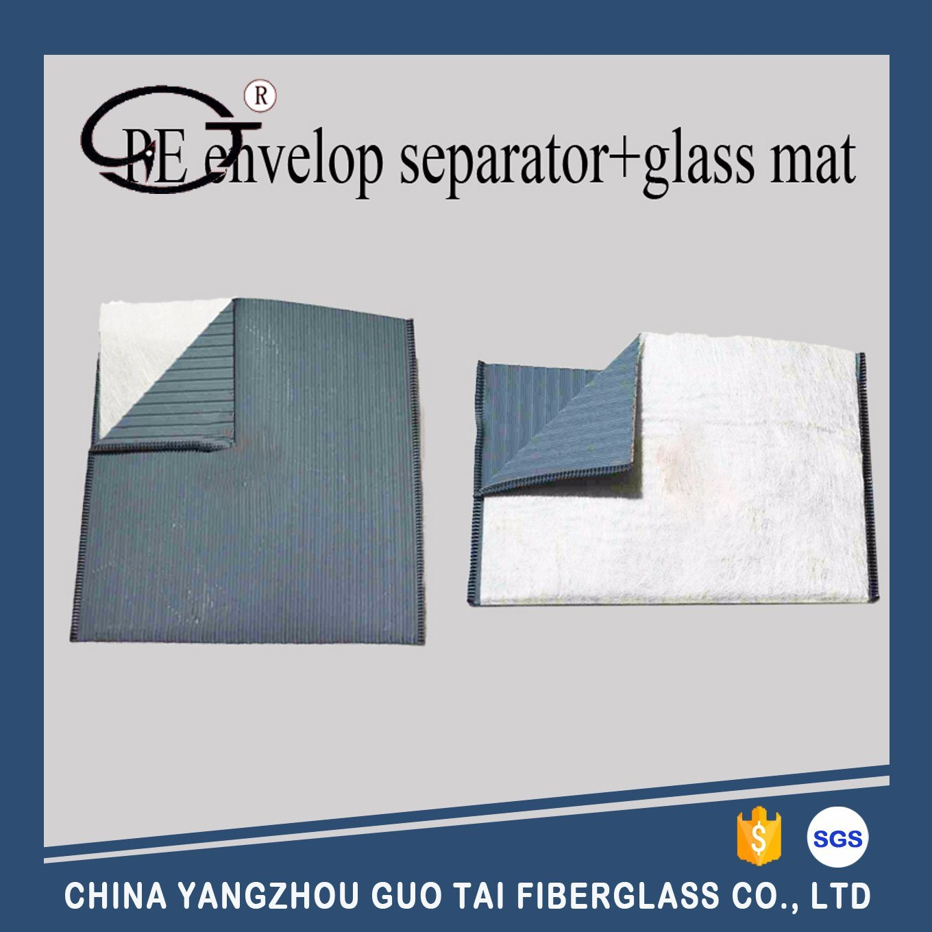 PE Envelop Battery Separator with Glass Mat Outer