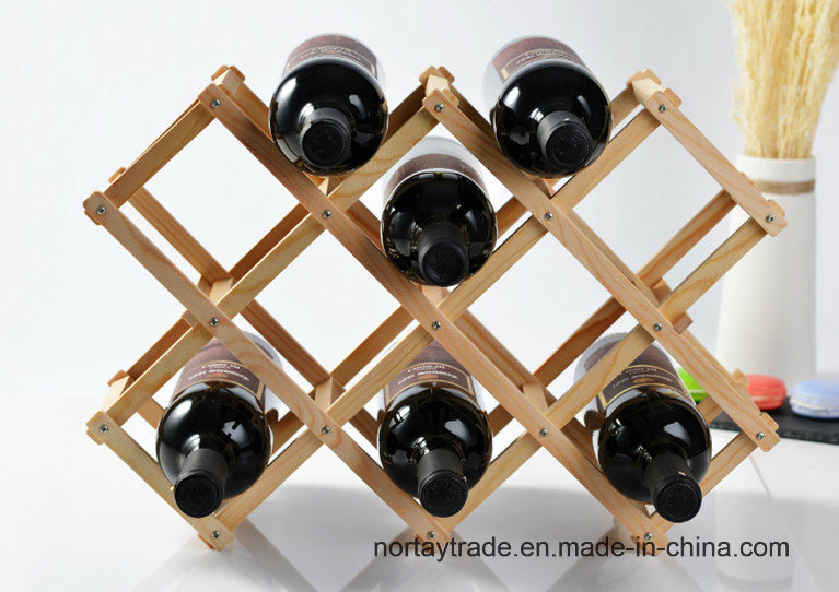 10-Bottle 8 Stains Pine Wood Folded Wine Racks