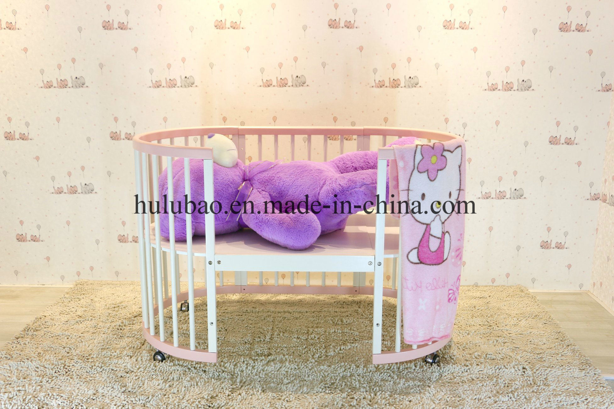 Children Furniture Baby Furniture Wooden Metal Convertible Crib Convertible Cot Round Baby Crib