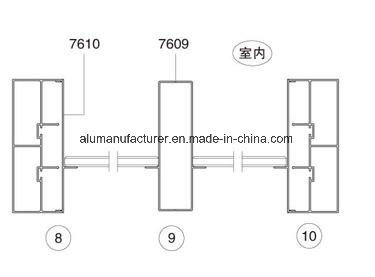 76 Series 3-Tracksash Aluminium Alloy Extrusion Profile for Door and Window