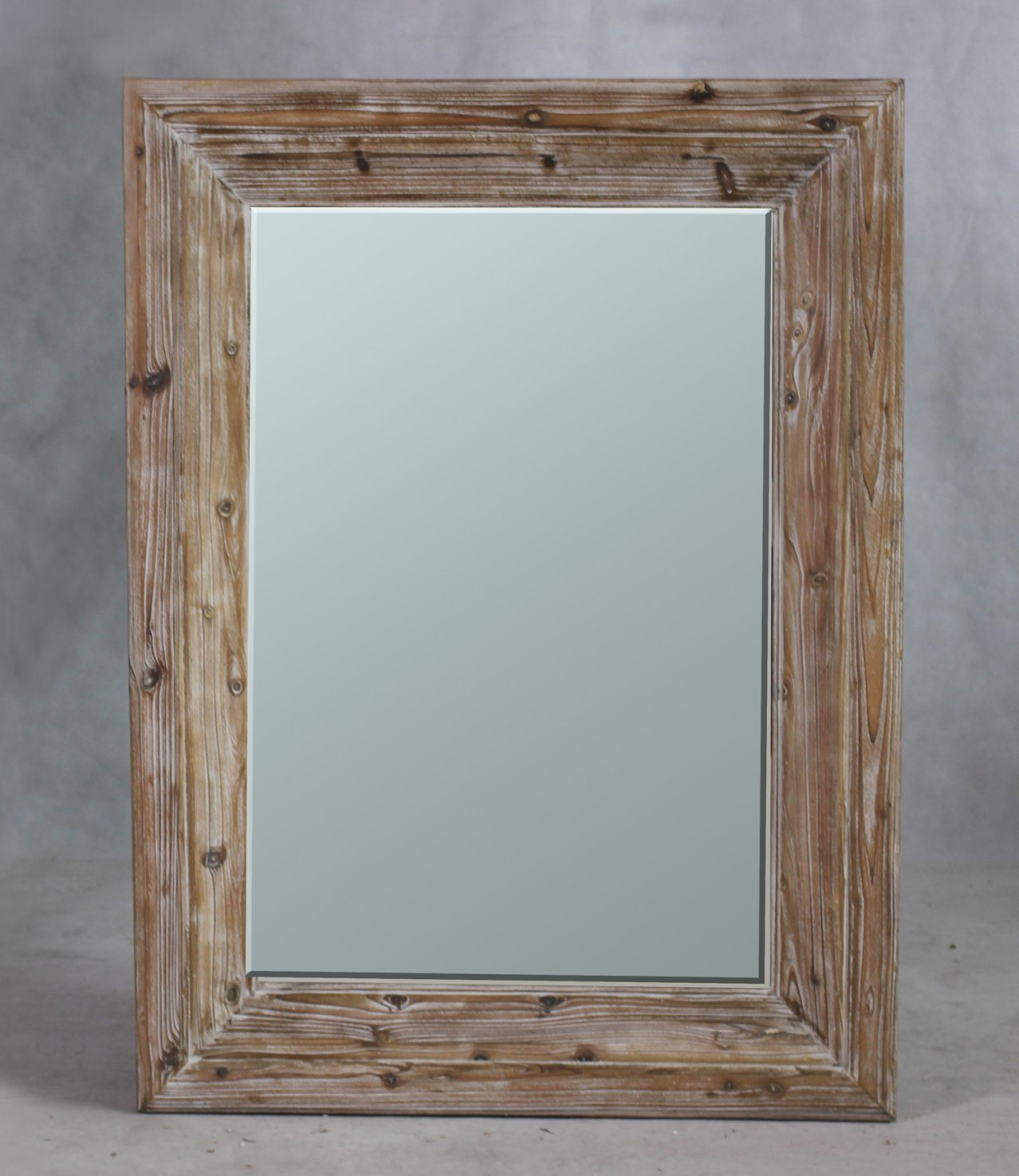 Beveled Wall Mirror Frame in Natural Timber Finish for Home Furniture