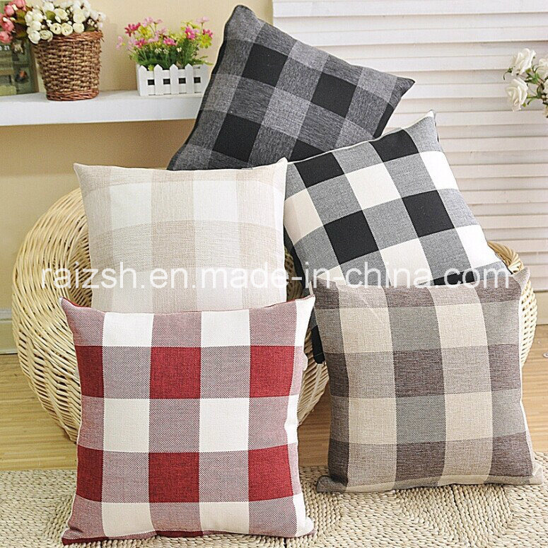 Sided Fashion Plaid Linen Pillow Cover