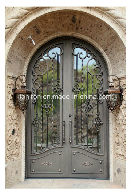 Custom Exterior Tempered Glass Door with Iron Designs