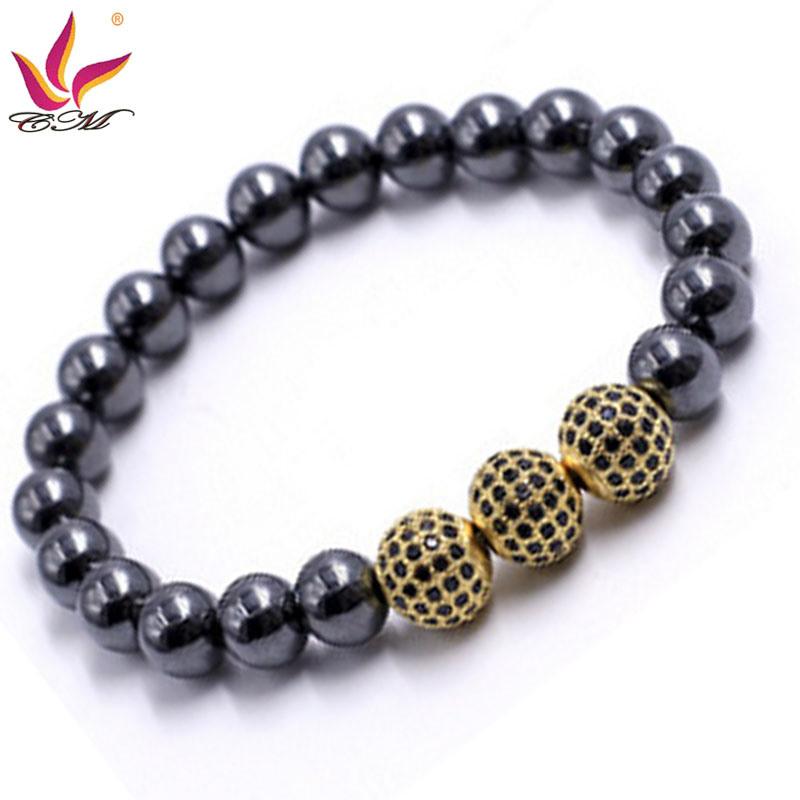 Htb-008 10mm Hematite Black with 3 Big CZ Ball Gold Color Bracelet